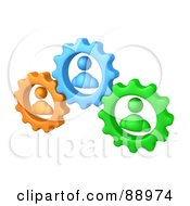 Green Orange And Blue People Inside Gears Working Together To Solve A Problem