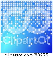 Royalty Free RF Clipart Illustration Of A Blue Background With Pixel Blocks by Prawny