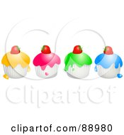 Royalty Free RF Clipart Illustration Of A Row Of Colorful Strawberry Topped Cupcakes