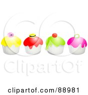 Royalty Free RF Clipart Illustration Of A Row Of Colorful Candy Topped Cupcakes by Prawny