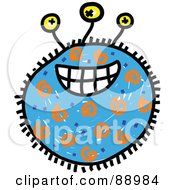 Royalty Free RF Clipart Illustration Of A Blue Grinning Germ Cartoon by Prawny