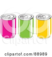 Royalty Free RF Clipart Illustration Of A Row Of Pink Green And Yellow Soda Cans by Prawny
