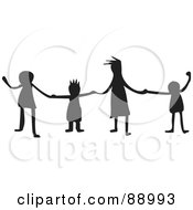 Royalty Free RF Clipart Illustration Of A Group Of Silhouetted Kids Holding Hands