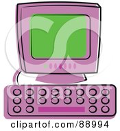 Royalty Free RF Clipart Illustration Of A Purple Desktop Computer With A Green Screen by Prawny