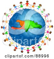 Royalty Free RF Clipart Illustration Of Stick Children Holding Hands Around A Haiti Globe