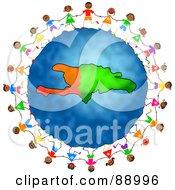 Stick Children Holding Hands Around A Haiti Globe
