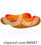 Royalty Free RF Clipart Illustration Of Two Sausages Topped With Ketchup