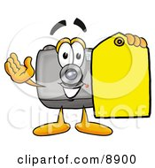 Camera Mascot Cartoon Character Holding A Yellow Sales Price Tag