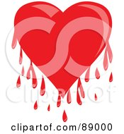 Royalty Free RF Clipart Illustration Of A Shiny Red Bleeding Heart With Drips by Prawny