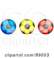 Royalty Free RF Clipart Illustration Of A Row Of Green Yellow And Red Soccer Balls by Prawny
