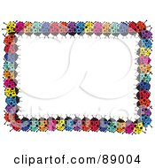 Royalty Free RF Clipart Illustration Of A Border Of Colorful Lady Bugs Around White Space by Prawny