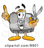 Clipart Picture Of A Camera Mascot Cartoon Character Holding A Pair Of Scissors