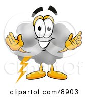 Clipart Picture Of A Cloud Mascot Cartoon Character With Welcoming Open Arms
