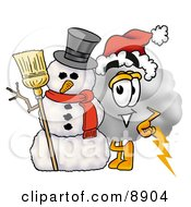 Clipart Picture Of A Cloud Mascot Cartoon Character With A Snowman On Christmas by Toons4Biz