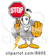 Clipart Picture Of A Cloud Mascot Cartoon Character Holding A Stop Sign