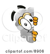 Clipart Picture Of A Cloud Mascot Cartoon Character Peeking Around A Corner by Toons4Biz
