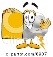 Clipart Picture Of A Cloud Mascot Cartoon Character Holding A Yellow Sales Price Tag