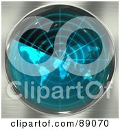 Royalty Free RF Clipart Illustration Of A Blue Radar Screen With A World Map Over Brushed Metal