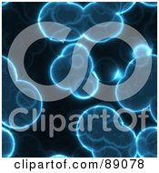 Royalty Free RF Clipart Illustration Of A Background Of Blue Cells On Black by Arena Creative