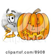 Clipart Picture Of A Cloud Mascot Cartoon Character With A Carved Halloween Pumpkin by Toons4Biz