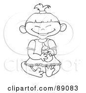 Royalty Free RF Clipart Illustration Of An Outlined Asian Baby Girl Holding A Bottle by Pams Clipart