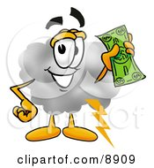 Clipart Picture Of A Cloud Mascot Cartoon Character Holding A Dollar Bill by Toons4Biz