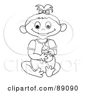 Royalty Free RF Clipart Illustration Of An Outlined Baby Girl Holding A Bottle Version 2 by Pams Clipart
