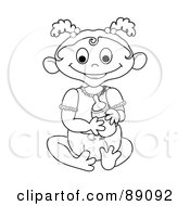 Royalty Free RF Clipart Illustration Of An Outlined Baby Girl Holding A Bottle Version 4 by Pams Clipart