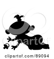 Royalty Free RF Clipart Illustration Of A Black Silhouetted Baby Girl Crawling With A Pacifier by Pams Clipart