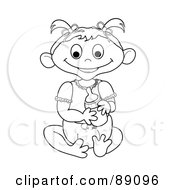 Royalty Free RF Clipart Illustration Of An Outlined Baby Girl Holding A Bottle Version 1 by Pams Clipart