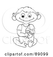 Royalty Free RF Clipart Illustration Of An Outlined Baby Girl Holding A Bottle Version 3 by Pams Clipart