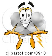 Clipart Picture Of A Cloud Mascot Cartoon Character Sitting