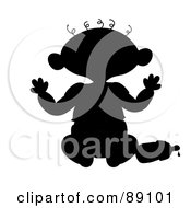 Royalty Free RF Clipart Illustration Of A Black Silhouetted Baby Sitting With A Bottle by Pams Clipart