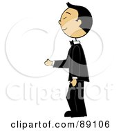 Royalty Free RF Clipart Illustration Of An Asian Groom Standing In A Tuxedo by Pams Clipart