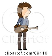 Royalty Free RF Clipart Illustration Of A Stick Caucasian Male Guitarist