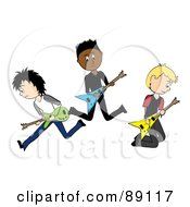 Royalty Free RF Clipart Illustration Of A Group Of Three Male Guitarists In A Rock Band