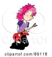 Royalty Free RF Clipart Illustration Of A Kneeling Pink Haired Female Guitarist