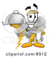 Clipart Picture Of A Cloud Mascot Cartoon Character Dressed As A Waiter And Holding A Serving Platter by Toons4Biz