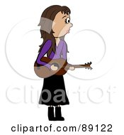 Royalty Free RF Clipart Illustration Of A Stick Caucasian Female Guitarist by Pams Clipart