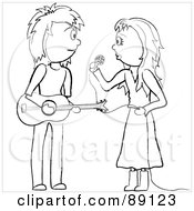 Royalty Free RF Clipart Illustration Of An Outlined Female Singer And Male Guitarist