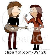 Royalty Free RF Clipart Illustration Of A Female Singer And Male Guitarist by Rogue Design and Image