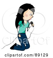 Royalty Free RF Clipart Illustration Of A Female Singer Kneeling