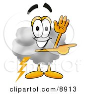 Clipart Picture Of A Cloud Mascot Cartoon Character Waving And Pointing by Toons4Biz