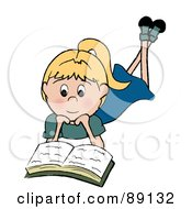 Royalty Free RF Clipart Illustration Of A Caucasian Girl Laying On Her Belly And Reading A Book by Pams Clipart