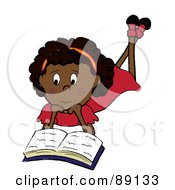 Royalty Free RF Clipart Illustration Of An African Girl Laying On Her Belly And Reading A Book by Pams Clipart