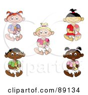 Royalty Free RF Clipart Illustration Of A Digital Collage Of Asian Caucasian Black And Indian Baby Girls Holding Bottles