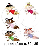 Royalty Free RF Clipart Illustration Of A Digital Collage Of Crawling Asian Caucasian Black And Indian Baby Girls