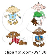 Royalty Free RF Clipart Illustration Of A Digital Collage Of Of Black White Indian And Asian Babies In Diapers by Pams Clipart