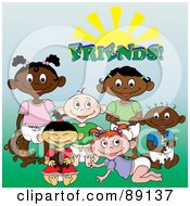 Royalty Free RF Clipart Illustration Of A Group Of Black White Indian And Asian Baby Friends Under The Word And Sun