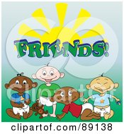 Group Of Black White Indian And Asian Baby Boy Friends Under The Word And Sun